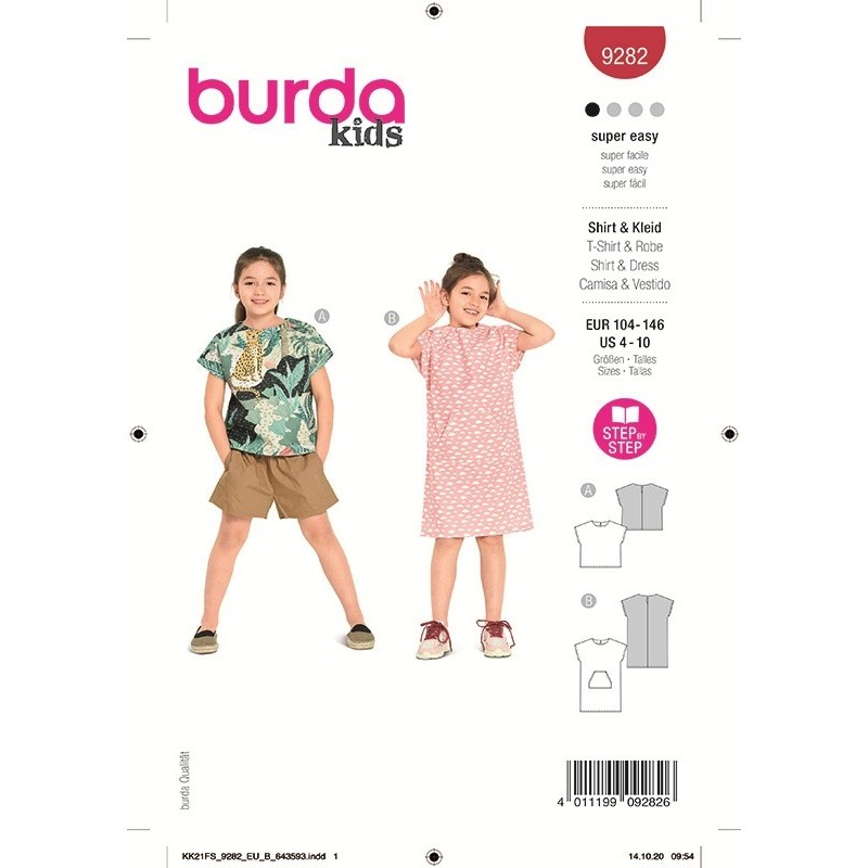 Patron Burda 9282 Kids T-shirt/robe 104/140