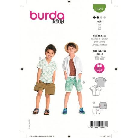 Patron Burda 9285 Kids Chemise/short 104/134