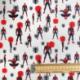 Tissu Popeline Spiderman Imprimé Blanc