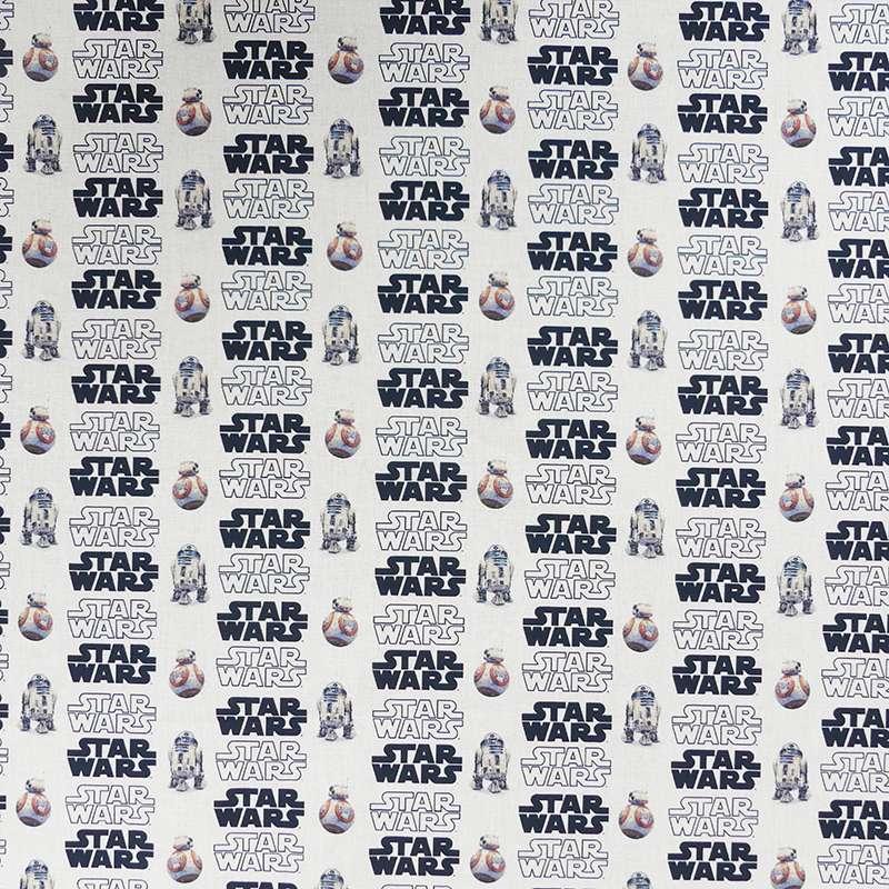 Tissu Popeline Star Wars Imprimé Blanc