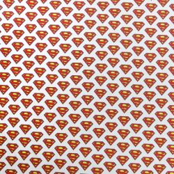 Tissu Popeline Superman Imprimé Blanc