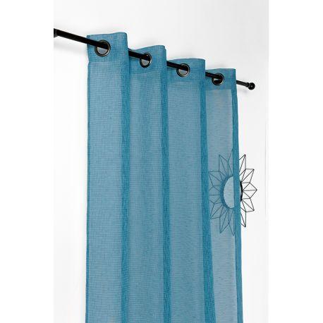 Tissu Voilage Saphir Bleu Canard