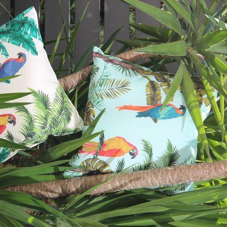 Housse de Coussin Perroquets Vert D'eau