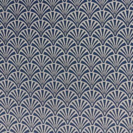 Tissu Ebano Jacquard Eventail Bleu