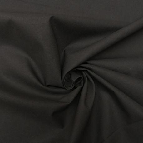 Tissu Popeline Uni Bio Noir