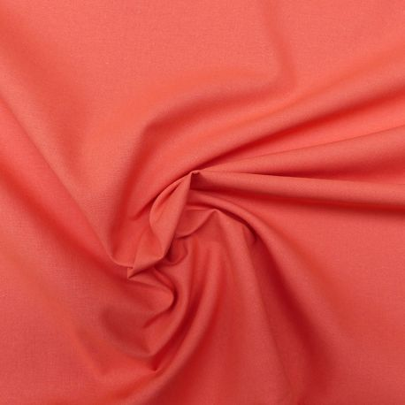 Tissu Popeline Uni Bio Orange Sanguine