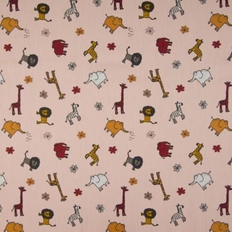 Tissu Coton Imprimé Animaux Fond Rose