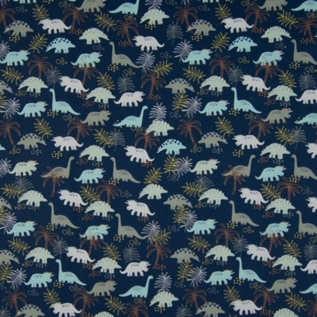 Tissu Coton Imprimé Dinosaure Fond Marine