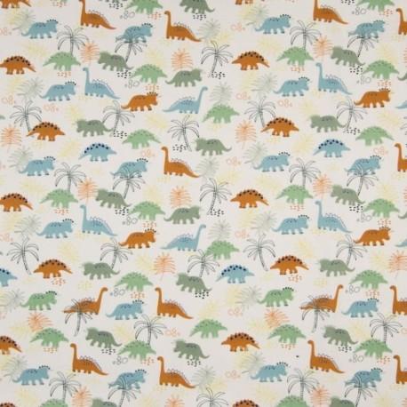 Tissu Coton Imprimé Dinosaure Fond Ecru