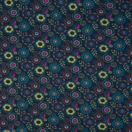 Tissu Jersey Coton Bio Cercle feuille Petrole