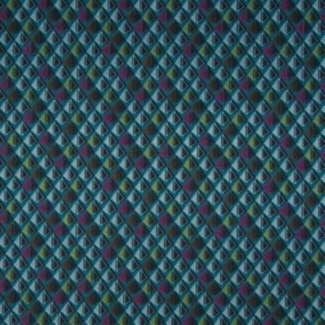 Tissu Jersey Coton Bio Graphique Petrole