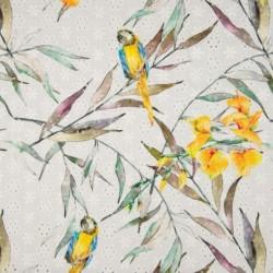 Tissu Coton Digital Brode Perroquet