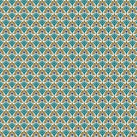Tissu Cretonne Ecaillette Imprimé Vert