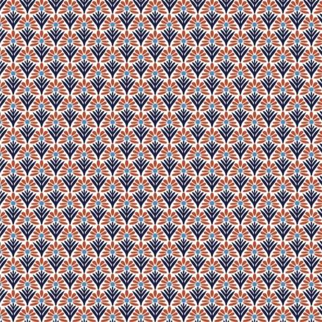 Tissu Cretonne Ecaillette Imprimé Rouge