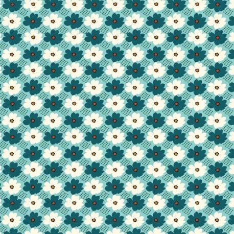 Tissu Cretonne Fleurette Imprimé Bleu