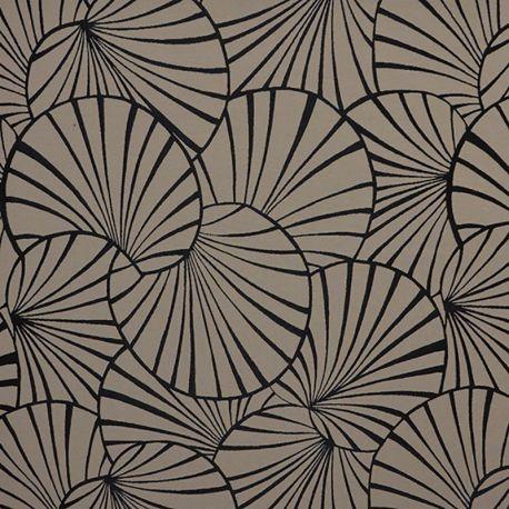 Tissu Jacquard Nympheas Noir Fond Ficelle