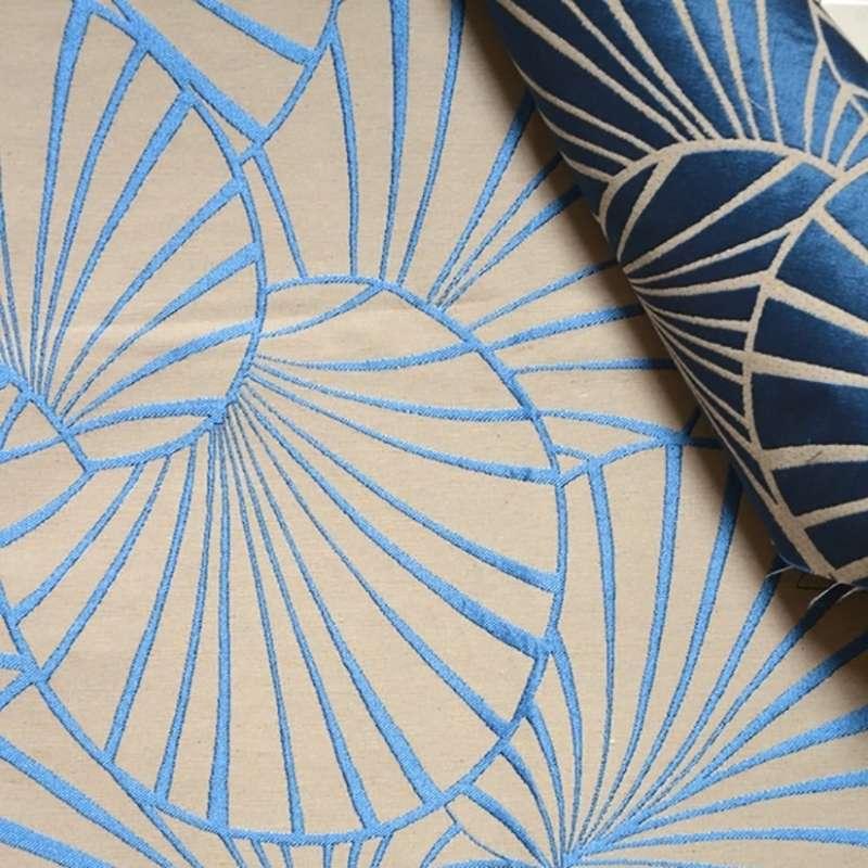 Tissu Jacquard Nympheas Bleu Fond Ficelle