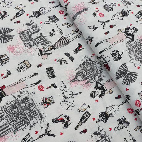 Tissu J'aime Paris imprimé Blanc