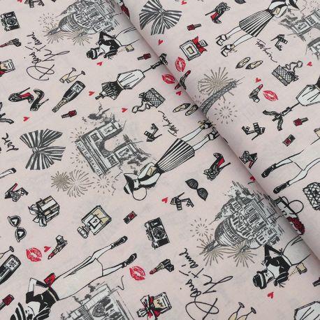 Tissu J'aime Paris imprimé Rose