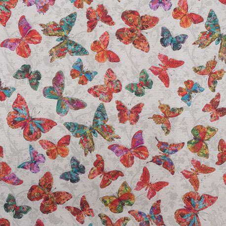 Tissu Laynta Enduit Beige Imprimé Papillons