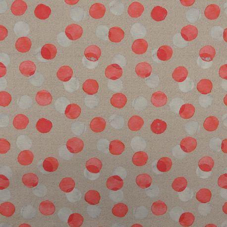 Tissu Pirisa Enduit Naturel Imprimé Pois