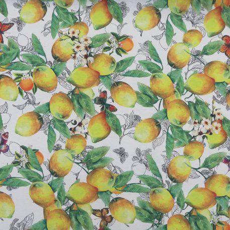 Tissu Citrus Enduit Blanc Imprimé Citrons