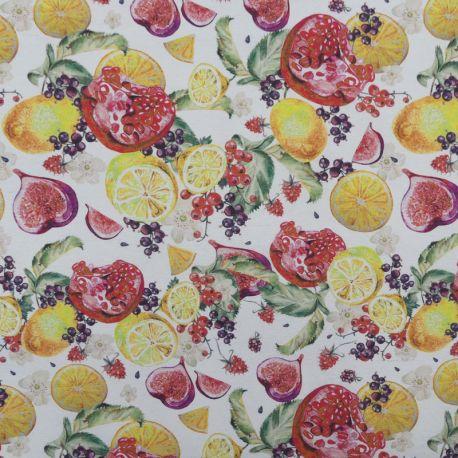 Tissu Figs Enduit Blanc Imprimé Fruits