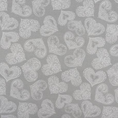 Tissu Gorse Enduit Gris Imprimé