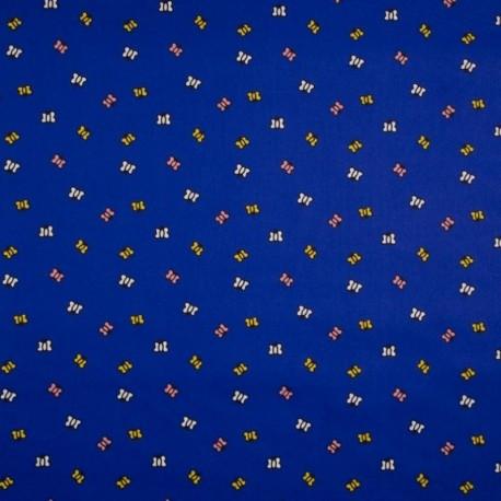 Tissu Coton Imprimé Papillon Fond Marine