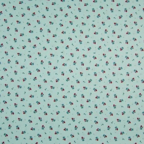 Tissu Coton Imprimé Floral Fond Vert Clair