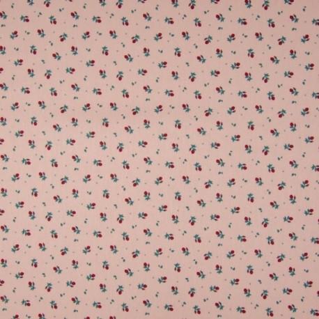 Tissu Coton Imprimé Floral Fond Saumon