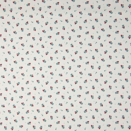 Tissu Coton Imprimé Floral Fond Ecru