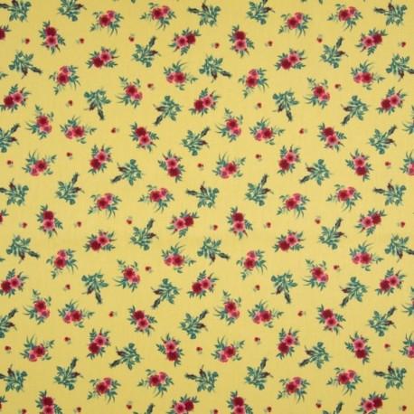 Tissu Coton Imprimé Grosse Fleur Fond Jaune