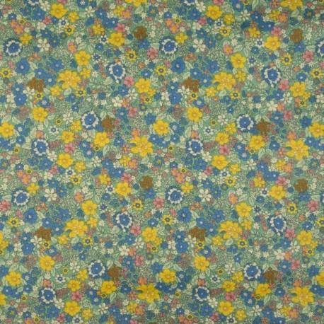 Tissu Coton Imprimé Fleuri Vert et bleu Royal