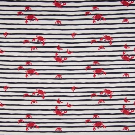 Tissu Jersey Imprimé Crabe Rayure Marine