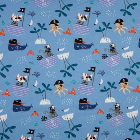 Tissu Jersey Imprimé Pirate Fond Bleu