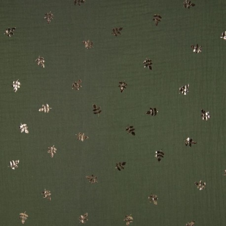 Tissu Double Gaze Foil Feuille Armé