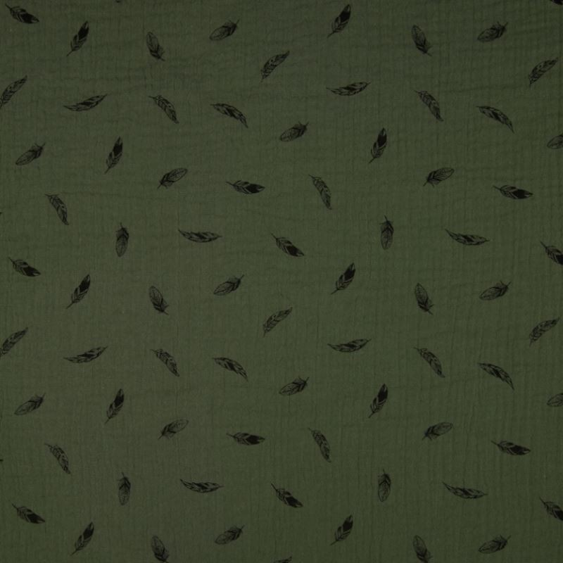 Tissu Double Gaze Imprimé Plume Army