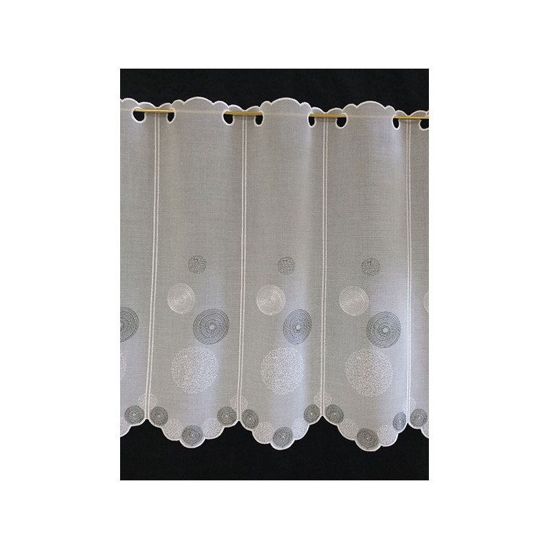 brise bise ronds etamine blanc gris fonc hauteur 59 cm tissus des ursules. Black Bedroom Furniture Sets. Home Design Ideas