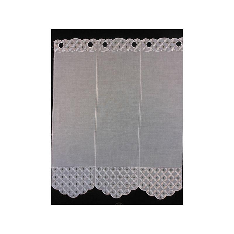 Brise Bise Etamine Blanc Gris Hauteur 90 cm
