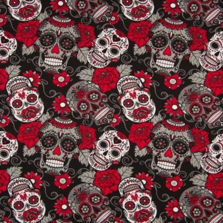 Tissu Jersey Coton Imprimé Crane Noir et rouge