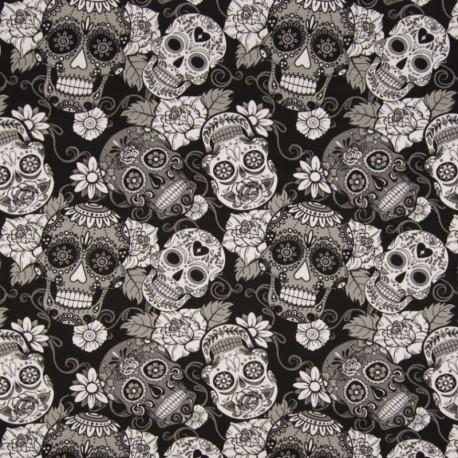 Tissu Jersey Coton Imprimé Crane Noir et blanc