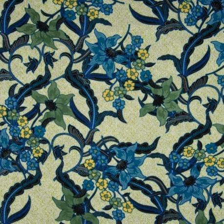 Tissu Viscose Fleur Abstrait Océan
