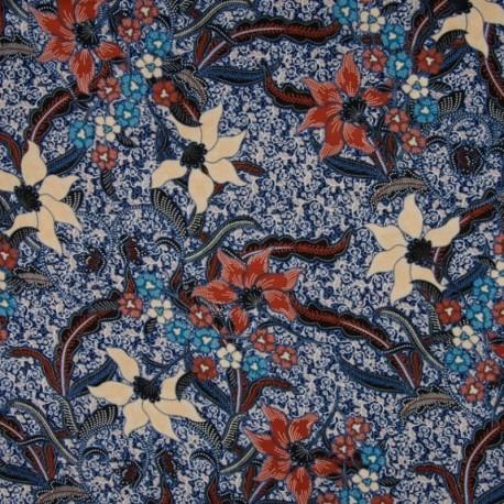 Tissu Viscose Fleur Abstrait Marine