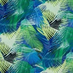 Tissu Viscose Feuillage Bleu