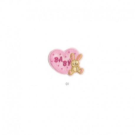 Ecusson Thermocollant Baby Coeur 4x5,5cm