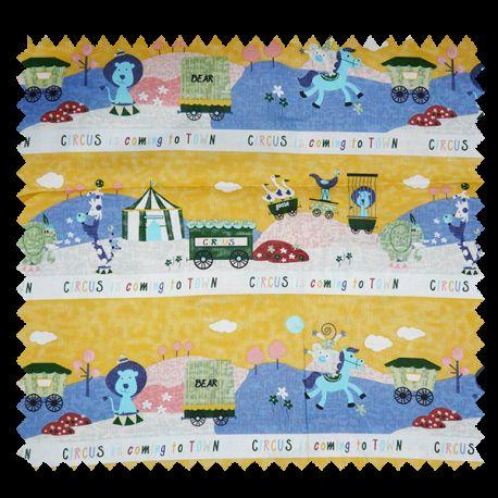 Tissu Coton Imprimé Circus Vert Jaune