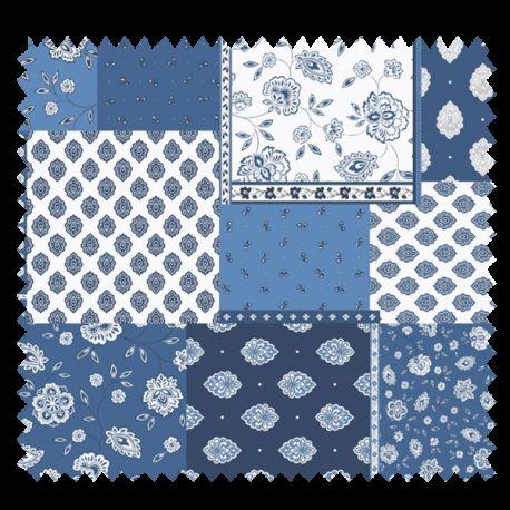 Tissu Cretonne Regalido Patch Bleu Blanc