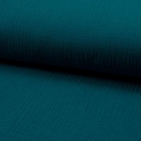 Tissu Double Gaze Uni Pétrole