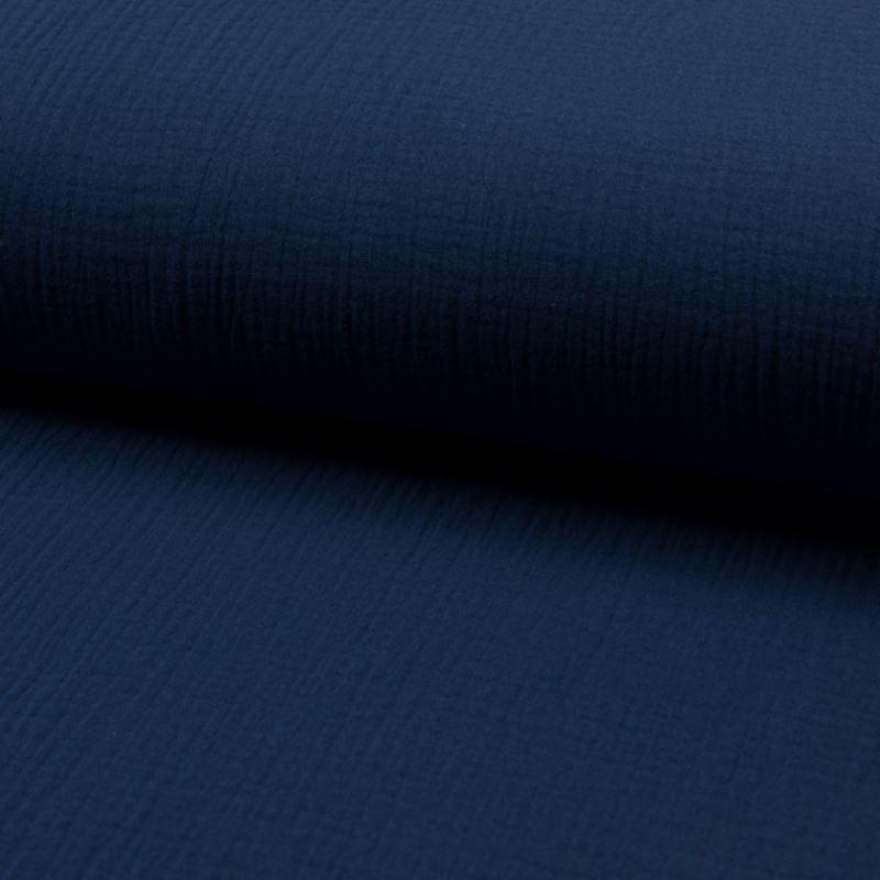 Tissu Double Gaze Uni Jeans Foncé